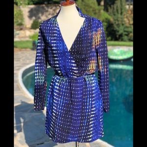 Parker silk dress size L blue long sleeve